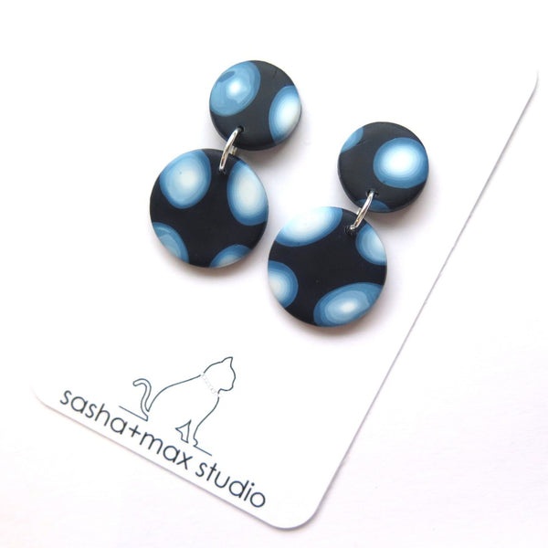 Other world blue dot and swirl round drop  earrings