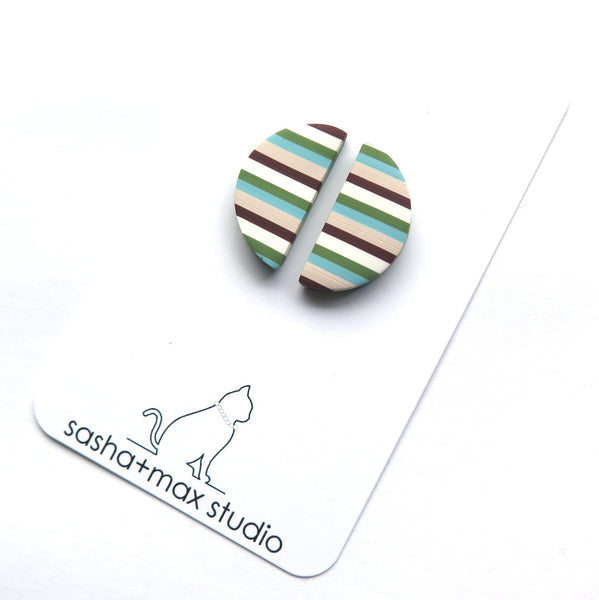 Stripealicious horizontal mini half round statement earrings