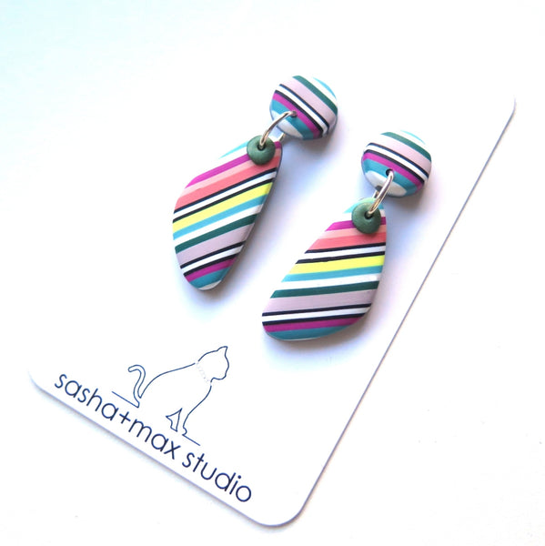 multicoloured stripe polymer clay earrings