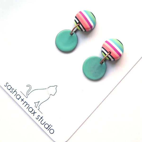 Spring Stripe enamel dangle stud button polymer clay earrings