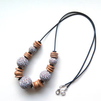 Leopard print beaded necklace