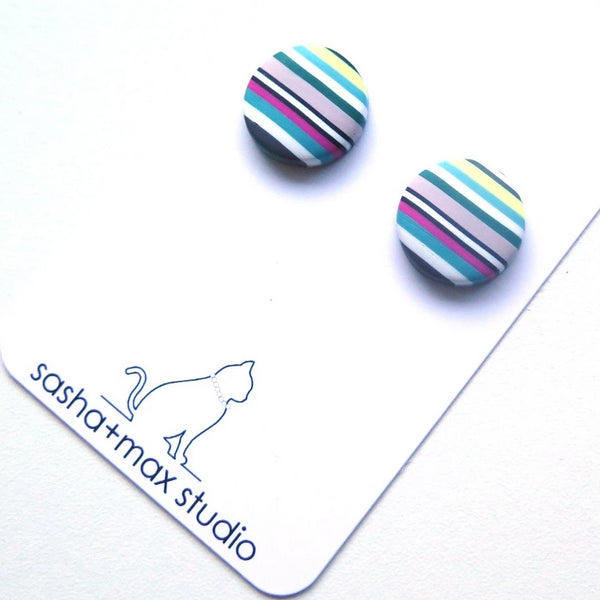 striped stud polymer clay earrings