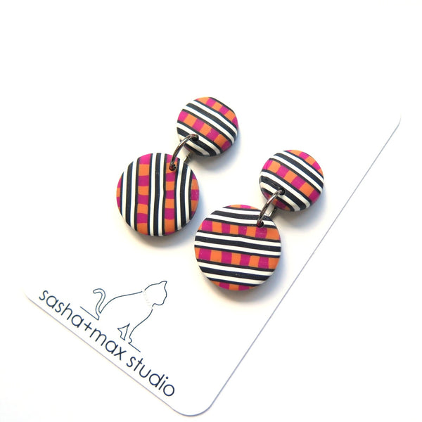 Patterned round drop earrings with pink and orange check
