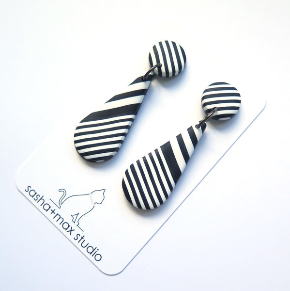 Mega black and white stripe drop statement earrings