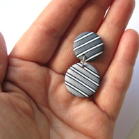 Grey Pinstripe statement earrings