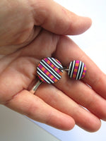 Check and wobbly stripe statement earrings