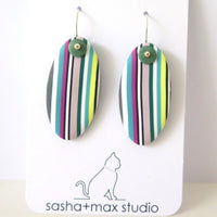 Spring Stripe  polymer clay earrings