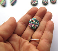 Spring Swirl stud button polymer clay earrings