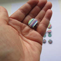 Spring Stripe stud button polymer clay earrings