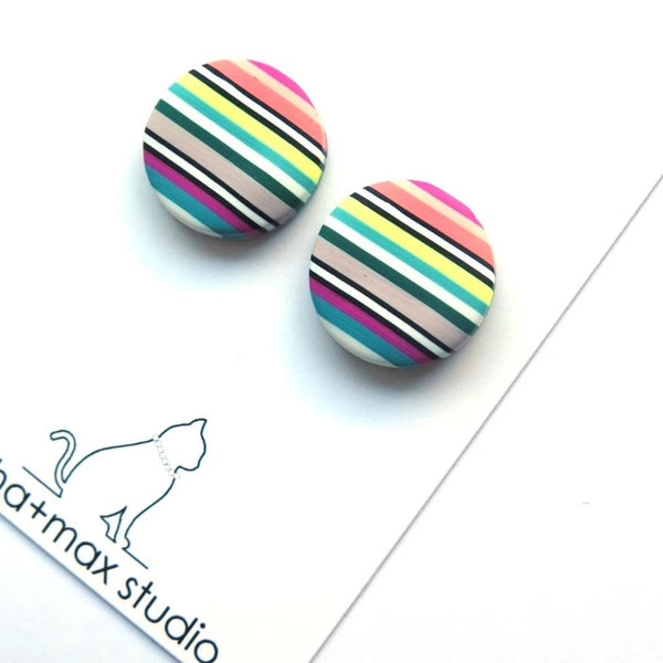 Spring Stripe big stud button polymer clay earrings