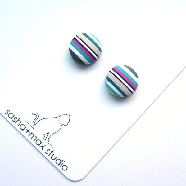 colourful striped stud earrings