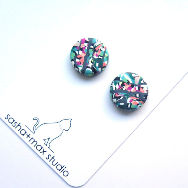 confetti swirl coloured stud button polymer clay earrings