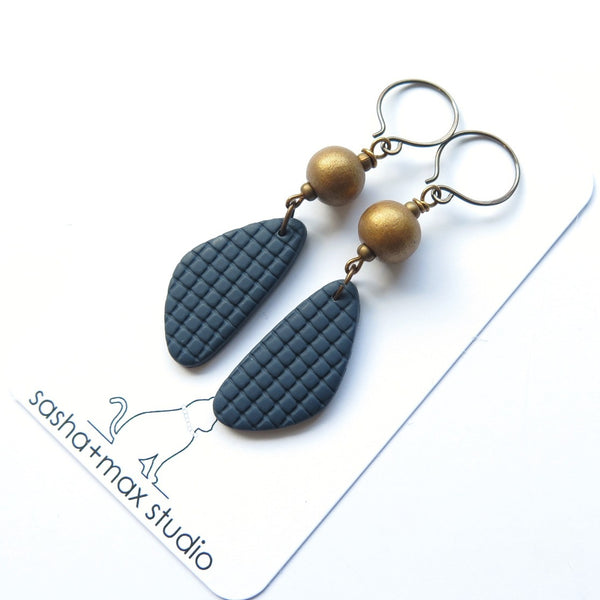 navy blue drop earrings handmade with antiqued brass