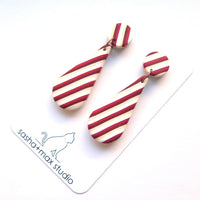 Red vintage stripe teardrop earrings