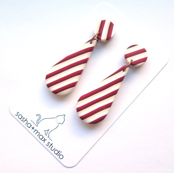 Red carnival stripe teardrop earrings