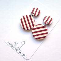 Red carnival stripe round statement earrings