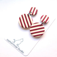 stripe red and white earrings