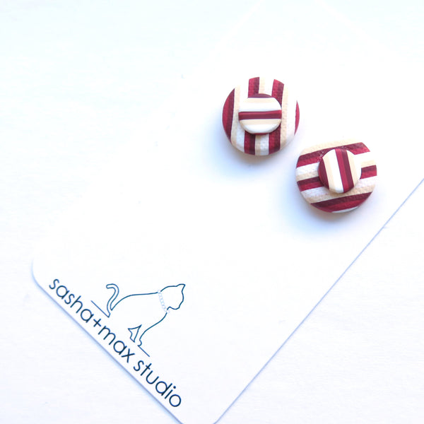Red vintage stripe stud statement earrings