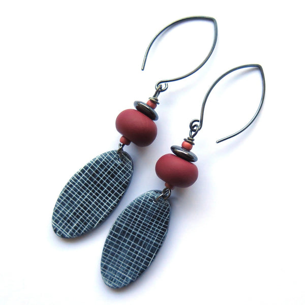 Grid oval  terracotta and black polymer clay earrings