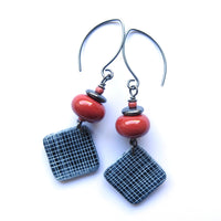 Grid textured square terracotta and black polymer clay earrings
