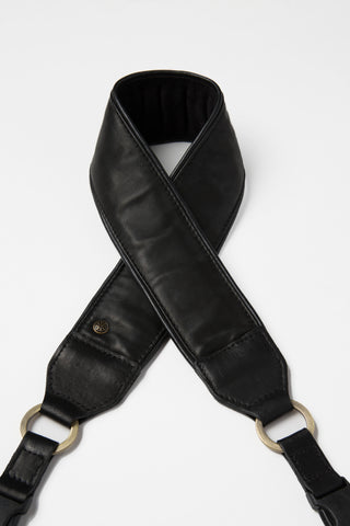 Venetian Black Lambskin Leather Camera Strap - Abie Straps - 1