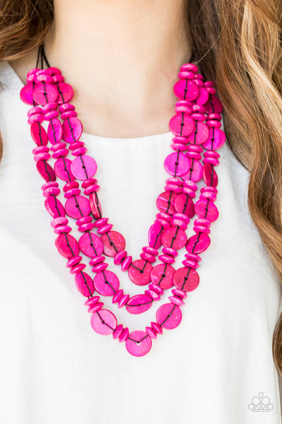 Paparazzi Barbados Bopper - Pink Necklace - A Finishing Touch Jewelry