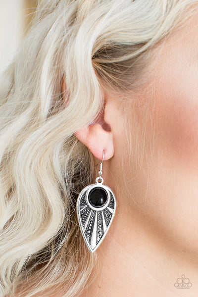 Paparazzi Take A WALKABOUT - Black Earrings - A Finishing Touch