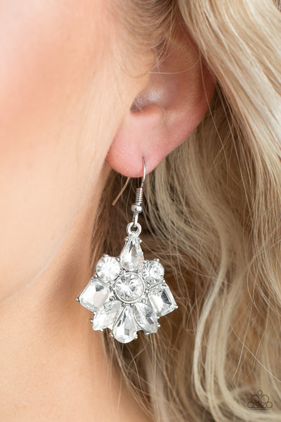 Paparazzi Fiercely Famous - White Rhinestone Earrings - A Finishing Touch