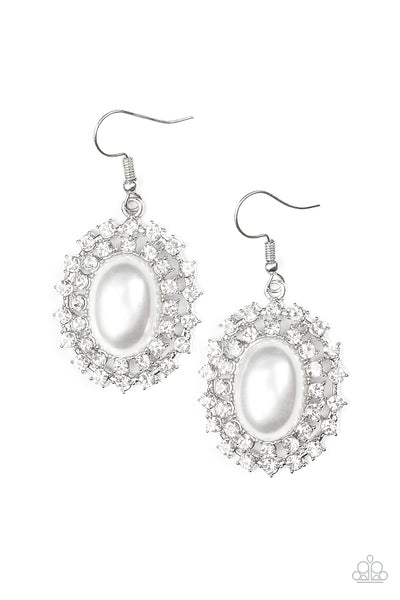 Paparazzi Mega Movie Star - White Rhinestone Earrings - A Finishing Touch