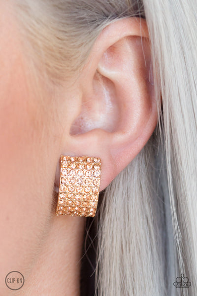 Paparazzi Hollywood Hotshot - Gold Clip-On Rhinestone Earrings - A Finishing Touch