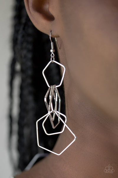 Paparazzi Five-Sided Fabulous - Silver Earrings - A Finishing Touch