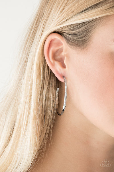 Paparazzi Geo Edge - Silver Hoop Earrings - A Finishing Touch