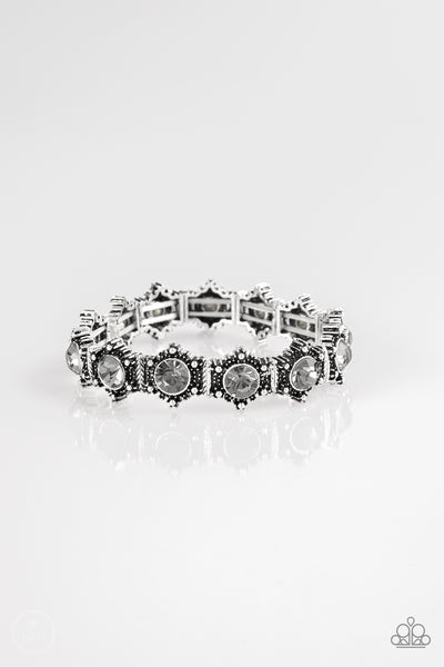 Paparazzi Strut Your Stuff - Silver Rhinestone Bracelet - A Finishing Touch