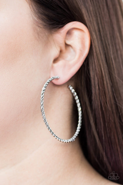 Paparazzi Keep It Chic - Silver Hoop Earrings - A Finishing Touch