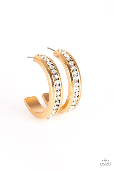 Paparazzi 5th Avenue Fashionista - Gold Rhinestone Earrings - A Finishing Touch