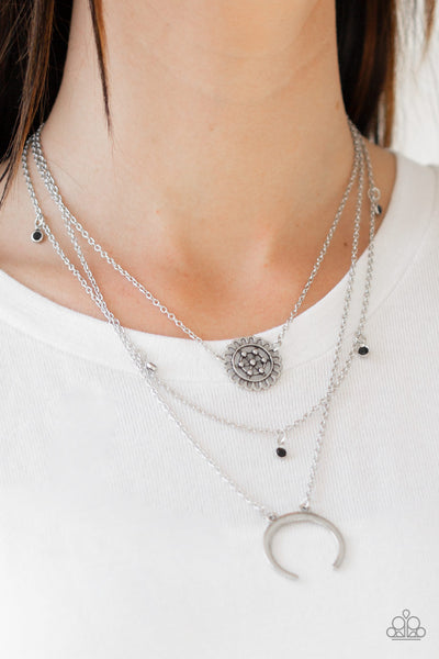 Paparazzi Lunar Lotus - Black Necklace - A Finishing Touch Jewelry