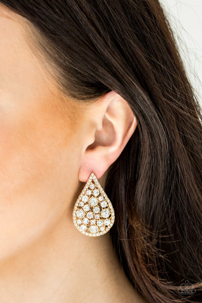 Paparazzi REIGN-Storm - Gold Teardrop Earrings - A Finishing Touch