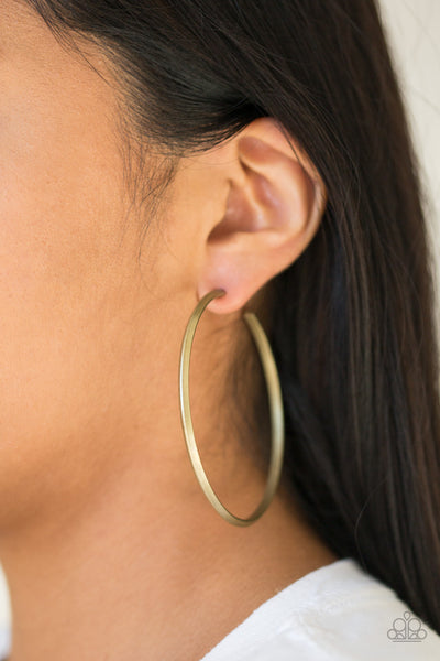 Paparazzi 5th Avenue Attitude - Brass Hoop Earrings - A Finishing Touch
