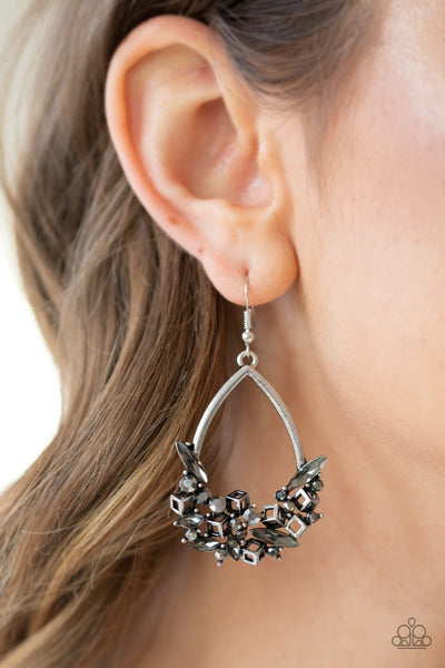 Paparazzi Crash Landing - Silver Hematite Earrings - A Finishing Touch