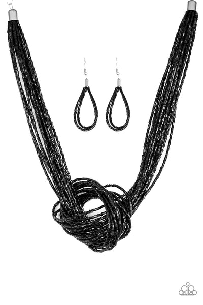 Paparazzi Knotted Knockout - Black Necklace - A Finishing Touch