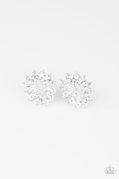 Paparazzi Brighten The Moment - White Rhinestone Earrings - A Finishing Touch