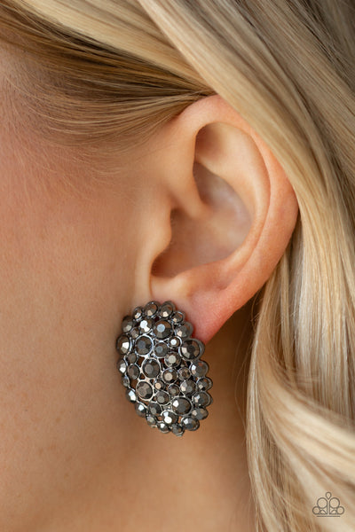 Paparazzi Daring Dazzle - Black Post Earrings - A Finishing Touch