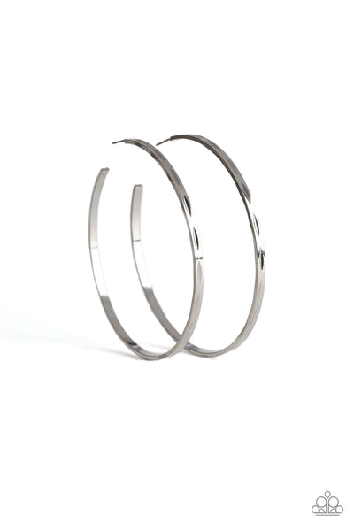 Paparazzi   Full On Radical - Silver Skinny Hoop Earrings - A Finishing Touch