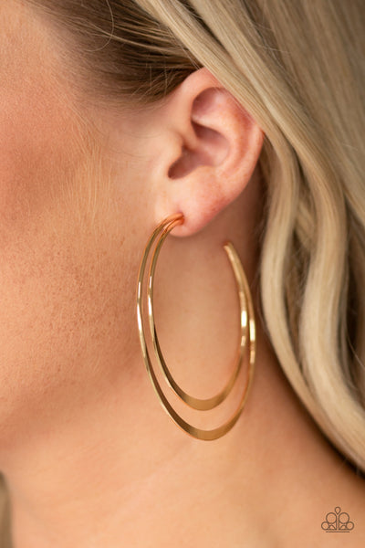 Paparazzi Last HOOP-rah - Gold Half-Moon Hoop Earrings - A Finishing Touch