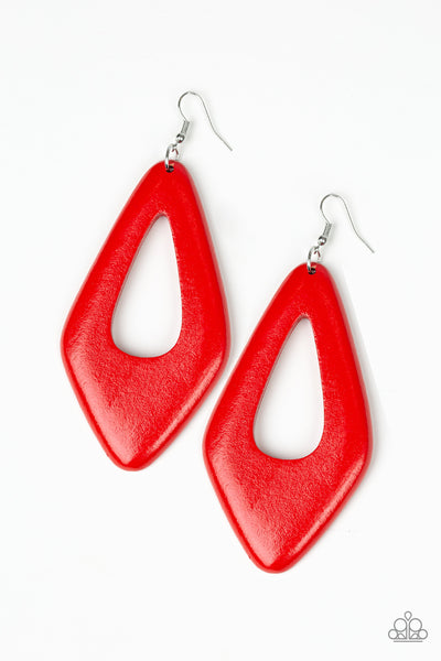 Paparazzi A SHORE Bet - Red Wooden Earrings - A Finishing Touch