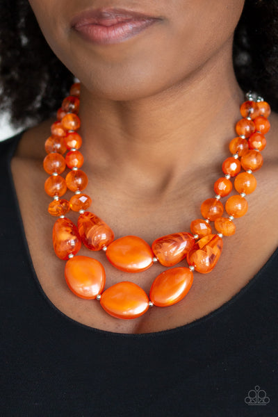 Paparazzi Beach Glam - Orange Necklace - A Finishing Touch