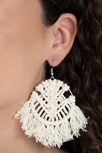 Paparazzi All About MACRAME - White Earrings - A Finishing Touch