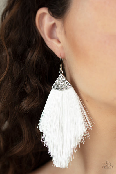 Paparazzi Tassel Tempo - White Earrings - A Finishing Touch
