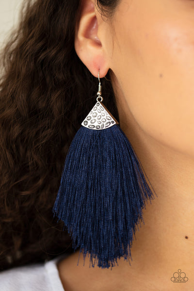 Paparazzi Tassel Tempo - Blue Earrings - A Finishing Touch