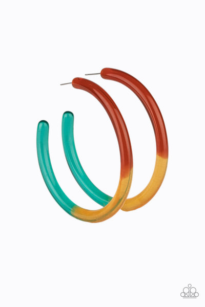 Paparazzi Awesome Aura - Multi Acrylic Hoop Earrings